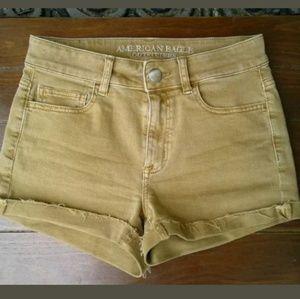 American Eagle 4 hi rise shortie jean gold shorts